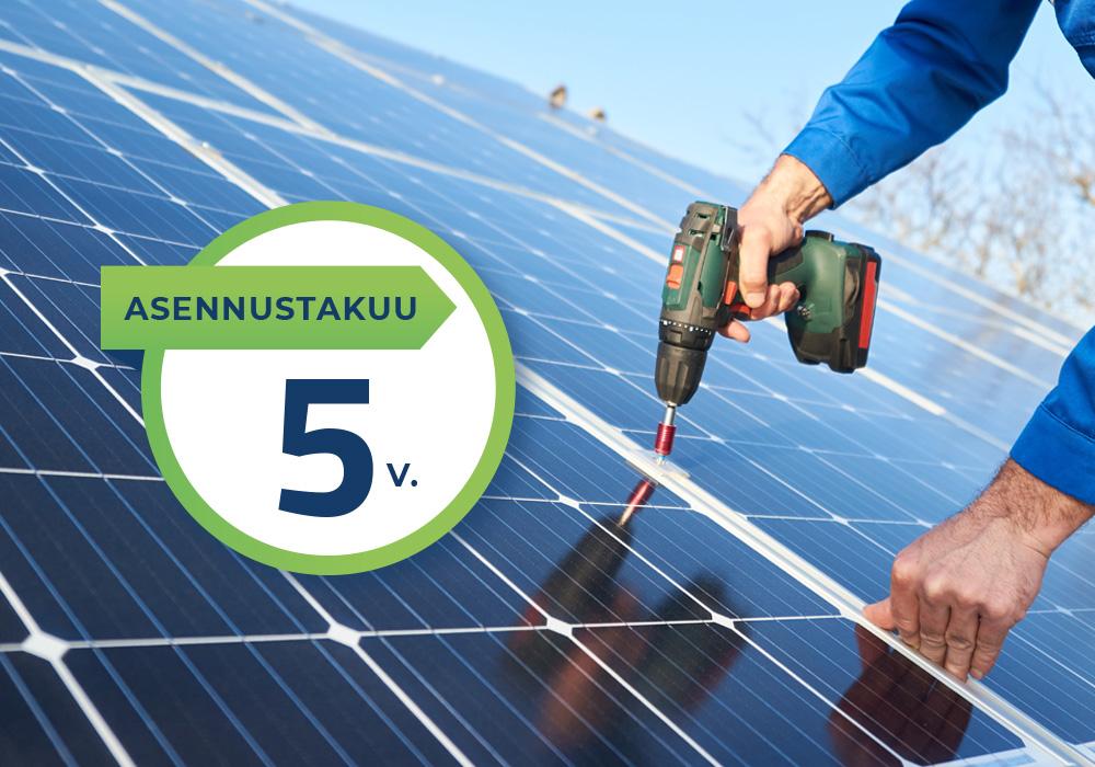 Aurinkosähköjärjestelmän asennustakuu 5 vuotta